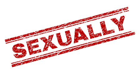 SEXUALLY seal print with distress texture. Red vector rubber print of SEXUALLY caption with retro texture. Text label is placed between double parallel lines.