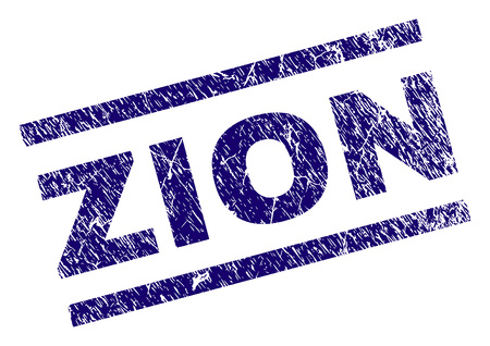 ZION seal print with distress style. Blue vector rubber print of ZION text with corroded texture. Text caption is placed between parallel lines. Illustration