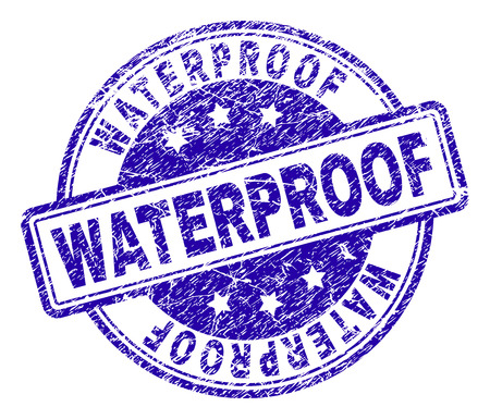 WATERPROOF stamp seal imprint with grunge style. Designed with rounded rectangles and circles. Blue vector rubber print of WATERPROOF title with grunge texture. Vectores
