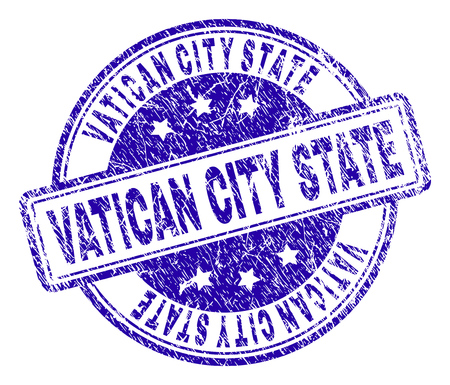 VATICAN CITY STATE stamp seal imprint with distress texture. Designed with rounded rectangles and circles. Blue vector rubber print of VATICAN CITY STATE text with grunge texture.