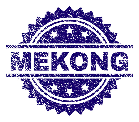 MEKONG stamp seal watermark with distress style. Blue vector rubber print of MEKONG caption with unclean texture. Illustration