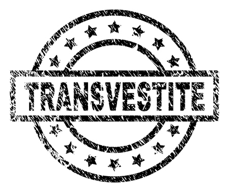 TRANSVESTITE stamp seal watermark with distress style. Designed with rectangle, circles and stars. Black vector rubber print of TRANSVESTITE caption with dirty texture.