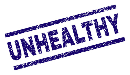 UNHEALTHY seal print with grunge style. Blue vector rubber print of UNHEALTHY text with unclean texture. Text caption is placed between parallel lines.