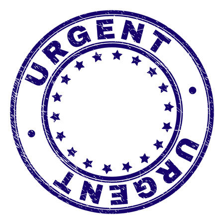 URGENT stamp seal watermark with grunge texture. Designed with circles and stars. Blue vector rubber print of URGENT caption with dirty texture. Illustration
