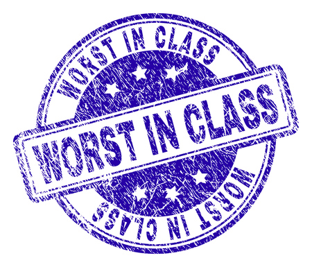 WORST IN CLASS stamp seal imprint with distress texture. Designed with rounded rectangles and circles. Blue vector rubber print of WORST IN CLASS title with grunge texture.