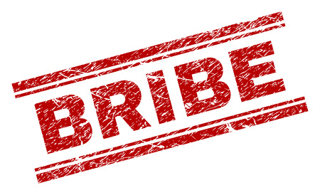 BRIBE seal print with corroded texture. Red vector rubber print of BRIBE text with dust texture. Text tag is placed between double parallel lines.