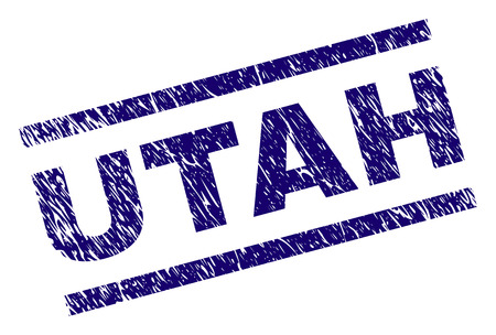 UTAH seal stamp with scratced style. Blue vector rubber print of UTAH text with unclean texture. Text caption is placed between parallel lines.