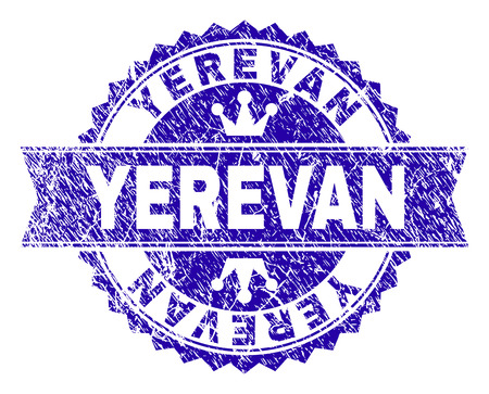 YEREVAN rosette stamp seal imitation with grunge texture. Designed with round rosette, ribbon and small crowns. Blue vector rubber watermark of YEREVAN title with grunge texture. Illustration