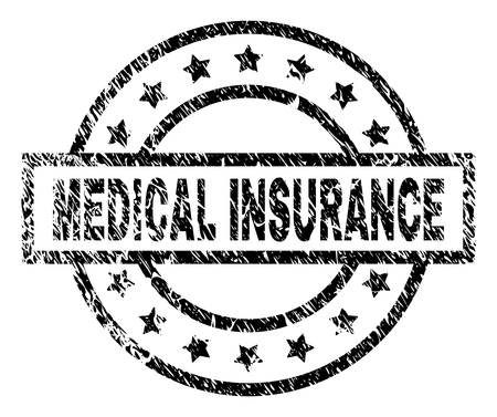 MEDICAL INSURANCE stamp seal watermark with distress style. Designed with rectangle, circles and stars. Black vector rubber print of MEDICAL INSURANCE text with corroded texture.