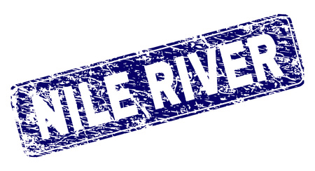 NILE RIVER stamp seal print with grunge style. Seal shape is a rounded rectangle with frame. Blue vector rubber print of NILE RIVER text with grunge style. Иллюстрация