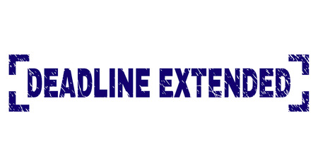 DEADLINE EXTENDED caption seal imprint with distress texture. Text caption is placed between corners. Blue vector rubber print of DEADLINE EXTENDED with grunge texture.
