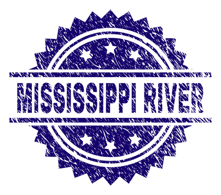 MISSISSIPPI RIVER stamp seal watermark with distress style. Blue vector rubber print of MISSISSIPPI RIVER title with scratched texture. Ilustração