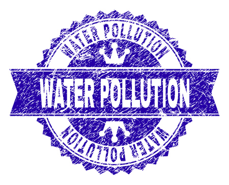 WATER POLLUTION rosette stamp seal watermark with distress style. Designed with round rosette, ribbon and small crowns. Blue vector rubber watermark of WATER POLLUTION tag with unclean style.