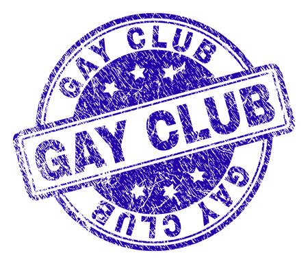 GAY CLUB stamp seal watermark with grunge texture. Designed with rounded rectangles and circles. Blue vector rubber print of GAY CLUB tag with grunge texture.