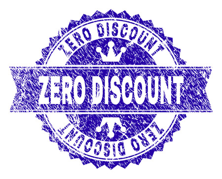 ZERO DISCOUNT rosette stamp seal watermark with distress texture. Designed with round rosette, ribbon and small crowns. Blue vector rubber watermark of ZERO DISCOUNT title with grunge texture.