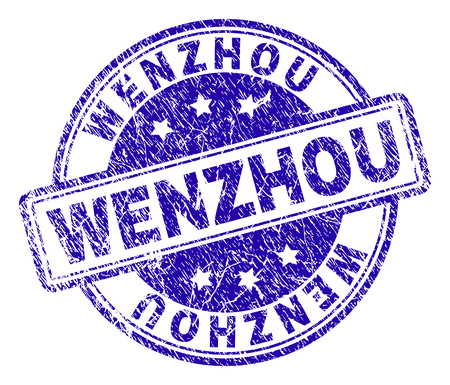 WENZHOU stamp seal imprint with grunge texture. Designed with rounded rectangles and circles. Blue vector rubber print of WENZHOU label with grunge texture.