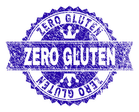 ZERO GLUTEN rosette stamp overlay with distress style. Designed with round rosette, ribbon and small crowns. Blue vector rubber watermark of ZERO GLUTEN caption with grunge style.