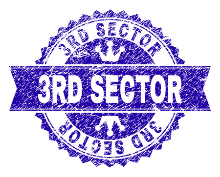 3RD SECTOR rosette stamp seal overlay with grunge texture. Designed with round rosette, ribbon and small crowns. Blue vector rubber print of 3RD SECTOR tag with dust texture.