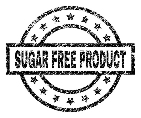 SUGAR FREE PRODUCT stamp seal watermark with distress style. Designed with rectangle, circles and stars. Black vector rubber print of SUGAR FREE PRODUCT caption with dust texture.
