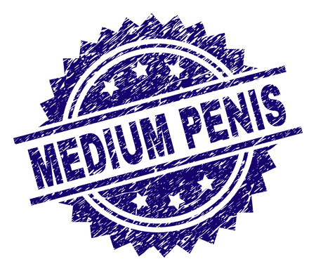 MEDIUM PENIS stamp seal watermark with distress style. Blue vector rubber print of MEDIUM PENIS text with dust texture. Ilustração