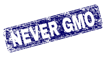 NEVER GMO stamp seal print with grunge style. Seal shape is a rounded rectangle with frame. Blue vector rubber print of NEVER GMO caption with unclean style.