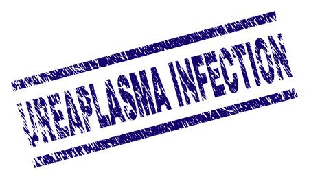 UREAPLASMA INFECTION seal imprint with grunge style. Blue vector rubber print of UREAPLASMA INFECTION text with grunge texture. Text label is placed between parallel lines.