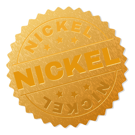 NICKEL gold stamp seal. Vector gold medal with NICKEL text. Text labels are placed between parallel lines and on circle. Golden area has metallic texture. 스톡 콘텐츠 - 125661694