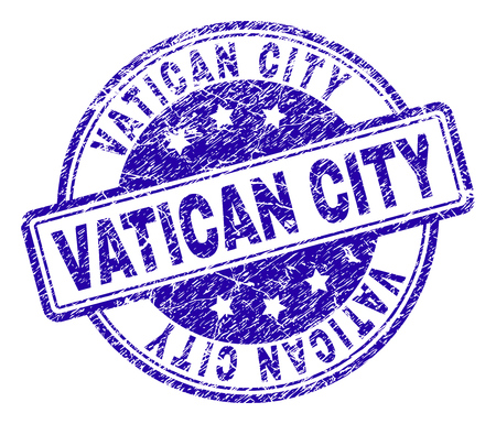 VATICAN CITY stamp seal imprint with grunge texture. Designed with rounded rectangles and circles. Blue vector rubber print of VATICAN CITY label with corroded texture.