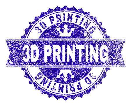 3D PRINTING rosette seal watermark with grunge texture. Designed with round rosette, ribbon and small crowns. Blue vector rubber watermark of 3D PRINTING title with unclean style. Illustration
