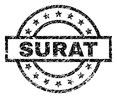 SURAT stamp seal watermark with distress style. Designed with rectangle, circles and stars. Black vector rubber print of SURAT title with corroded texture.