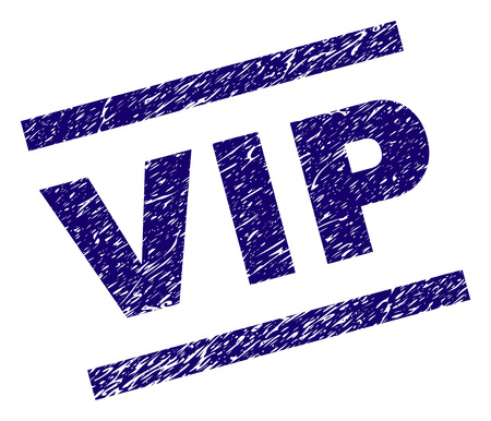 VIP seal print with grunge style. Blue vector rubber print of VIP text with corroded texture. Text tag is placed between parallel lines. Çizim