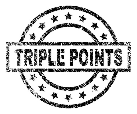 TRIPLE POINTS stamp seal watermark with distress style. Designed with rectangle, circles and stars. Black vector rubber print of TRIPLE POINTS tag with retro texture.