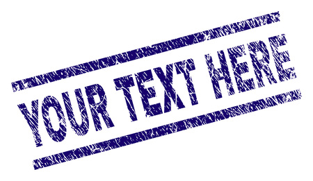 YOUR TEXT HERE seal print with scratced style. Blue vector rubber print of YOUR TEXT HERE label with dust texture. Text caption is placed between parallel lines.