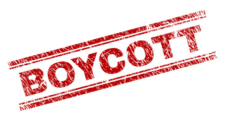 BOYCOTT seal print with corroded texture. Red vector rubber print of BOYCOTT caption with scratched texture. Text caption is placed between double parallel lines. Illustration
