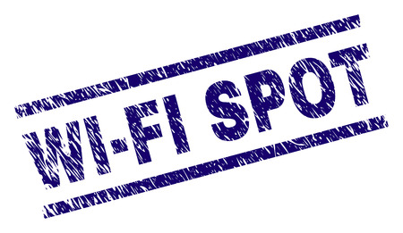WIFI SPOT seal print with grunge style. Blue vector rubber print of WIFI SPOT text with retro texture. Text caption is placed between parallel lines.