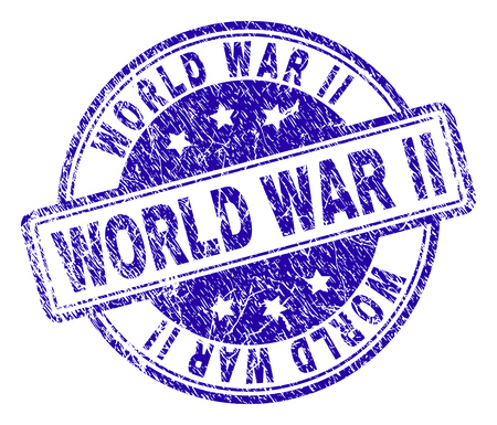 WORLD WAR II stamp seal watermark with grunge effect. Designed with rounded rectangles and circles. Blue vector rubber print of WORLD WAR II label with grunge texture.