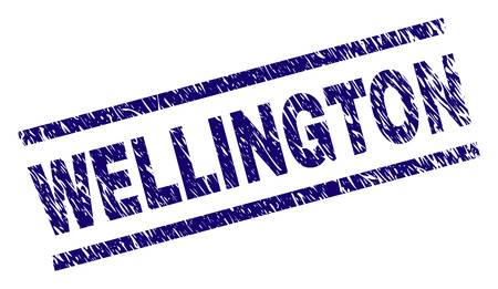 WELLINGTON seal print with grunge style. Blue vector rubber print of WELLINGTON text with dirty texture. Text title is placed between parallel lines.