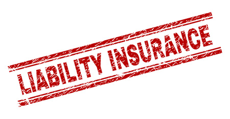 LIABILITY INSURANCE seal print with corroded style. Red vector rubber print of LIABILITY INSURANCE text with scratched texture. Text label is placed between double parallel lines. Illustration
