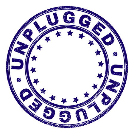 UNPLUGGED stamp seal imprint with grunge texture. Designed with circles and stars. Blue vector rubber print of UNPLUGGED label with dust texture.