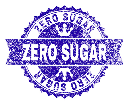 ZERO SUGAR rosette seal overlay with grunge texture. Designed with round rosette, ribbon and small crowns. Blue vector rubber print of ZERO SUGAR caption with grunge texture. Ilustrace