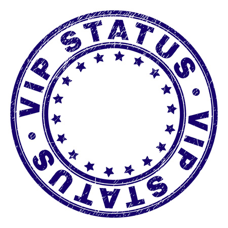 VIP STATUS stamp seal imprint with distress texture. Designed with round shapes and stars. Blue vector rubber print of VIP STATUS label with grunge texture.