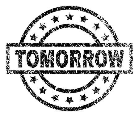 TOMORROW stamp seal watermark with distress style. Designed with rectangle, circles and stars. Black vector rubber print of TOMORROW label with grunge texture. Illustration