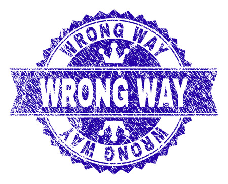 WRONG WAY rosette stamp watermark with grunge texture. Designed with round rosette, ribbon and small crowns. Blue vector rubber print of WRONG WAY caption with corroded texture.