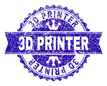 3D PRINTER rosette stamp seal watermark with grunge texture. Designed with round rosette, ribbon and small crowns. Blue vector rubber print of 3D PRINTER title with dust texture.
