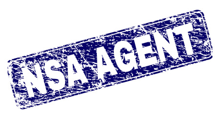 NSA AGENT stamp seal print with distress texture. Seal shape is a rounded rectangle with frame. Blue vector rubber print of NSA AGENT tag with unclean texture. Illustration