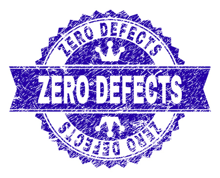 ZERO DEFECTS rosette stamp seal overlay with grunge texture. Designed with round rosette, ribbon and small crowns. Blue vector rubber watermark of ZERO DEFECTS title with retro texture.