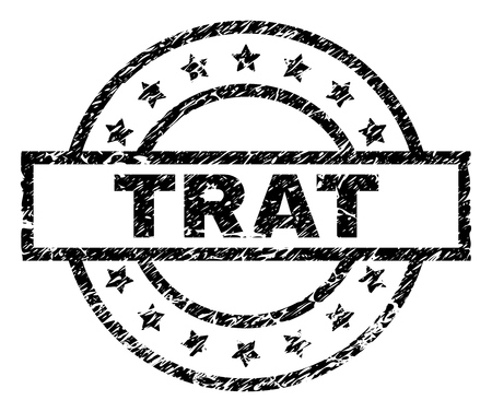 TRAT stamp seal watermark with distress style. Designed with rectangle, circles and stars. Black vector rubber print of TRAT label with retro texture. 矢量图像