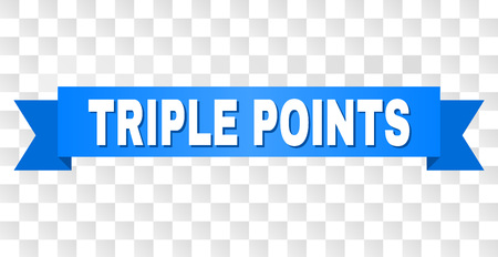 TRIPLE POINTS text on a ribbon. Designed with white caption and blue stripe. Vector banner with TRIPLE POINTS tag on a transparent background. Иллюстрация