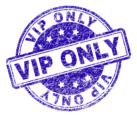 VIP ONLY stamp seal imprint with grunge effect. Designed with rounded rectangles and circles. Blue vector rubber print of VIP ONLY title with grunge texture.