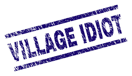 VILLAGE IDIOT seal stamp with grunge style. Blue vector rubber print of VILLAGE IDIOT title with grunge texture. Text title is placed between parallel lines. Иллюстрация